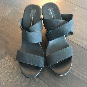 Steven Black Wedge Sandals